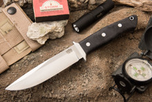 Bark River Knives Sandstorm CPM-154 Black Canvas Micarta - Matte Finish