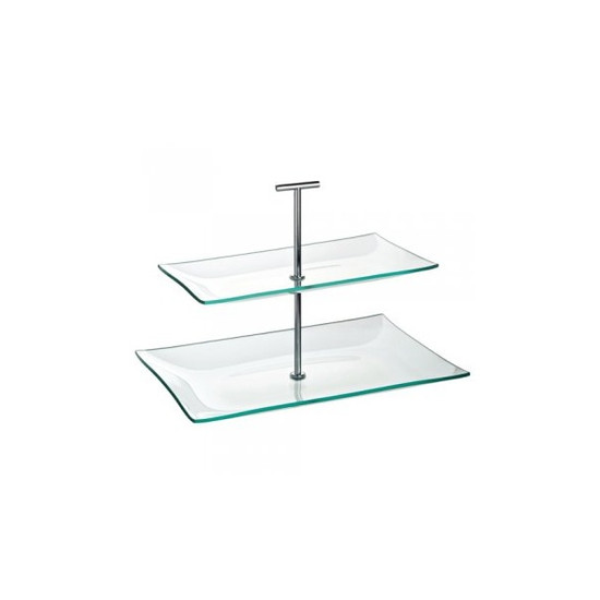 Aura 2 Tiered Rectangular Glass