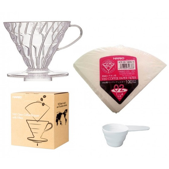 Hario V60 Clear Coffee Dripper with Filters
