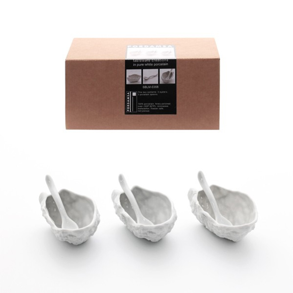 Porcelain Gift Set Oyster Shell x 3 with Spoons