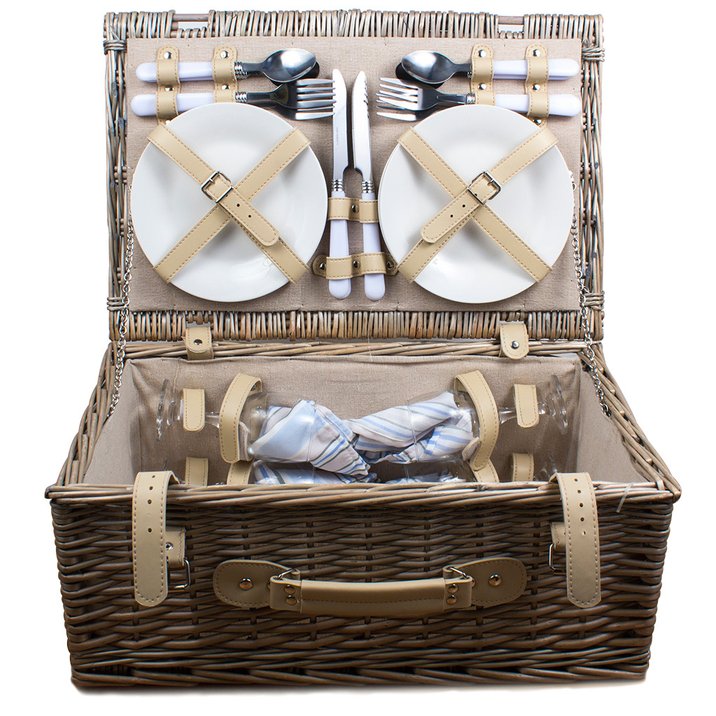 Picnic Hamper Antique Wash 4 Person