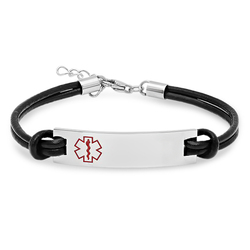 Stainless Steel Medical ID Bracelet with Black Leather