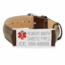 Quality Stainless Steel Medical ID Bracelet with Brown Leather