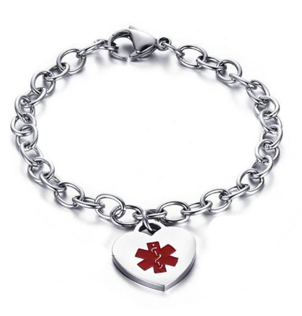1ad42c526b4e5 Stainless Steel Medical ID Bracelet with Heart Charm