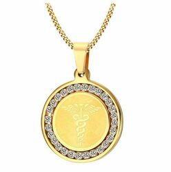 Stainless Steel Gold Color Medical ID Round Pendant with CZ