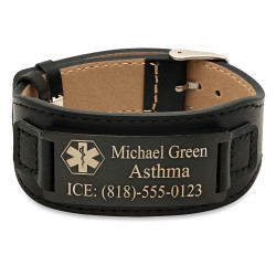 Stainless Steel With PU Leather Mens Black Medical ID Bracelet