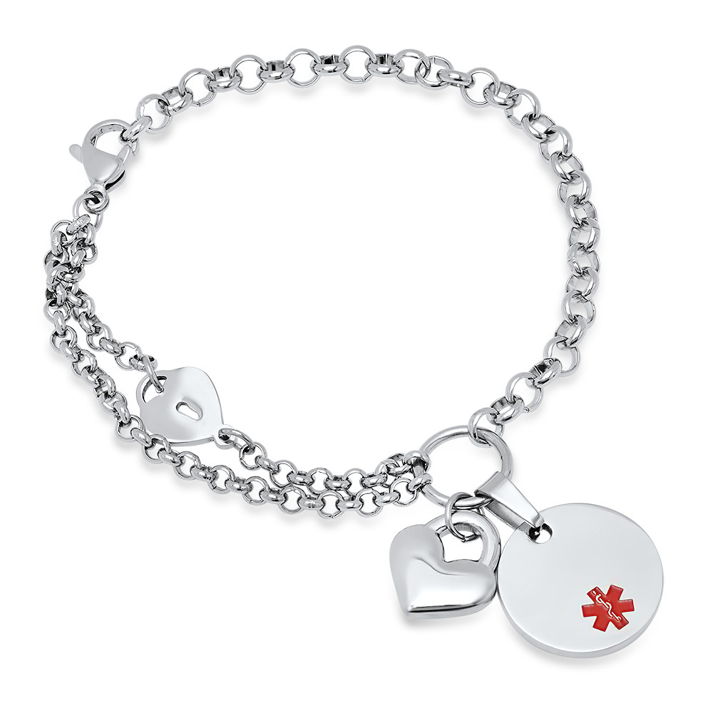 44e5e0c99de25 Quality Stainless Steel Medical ID Bracelet with Heart Charm
