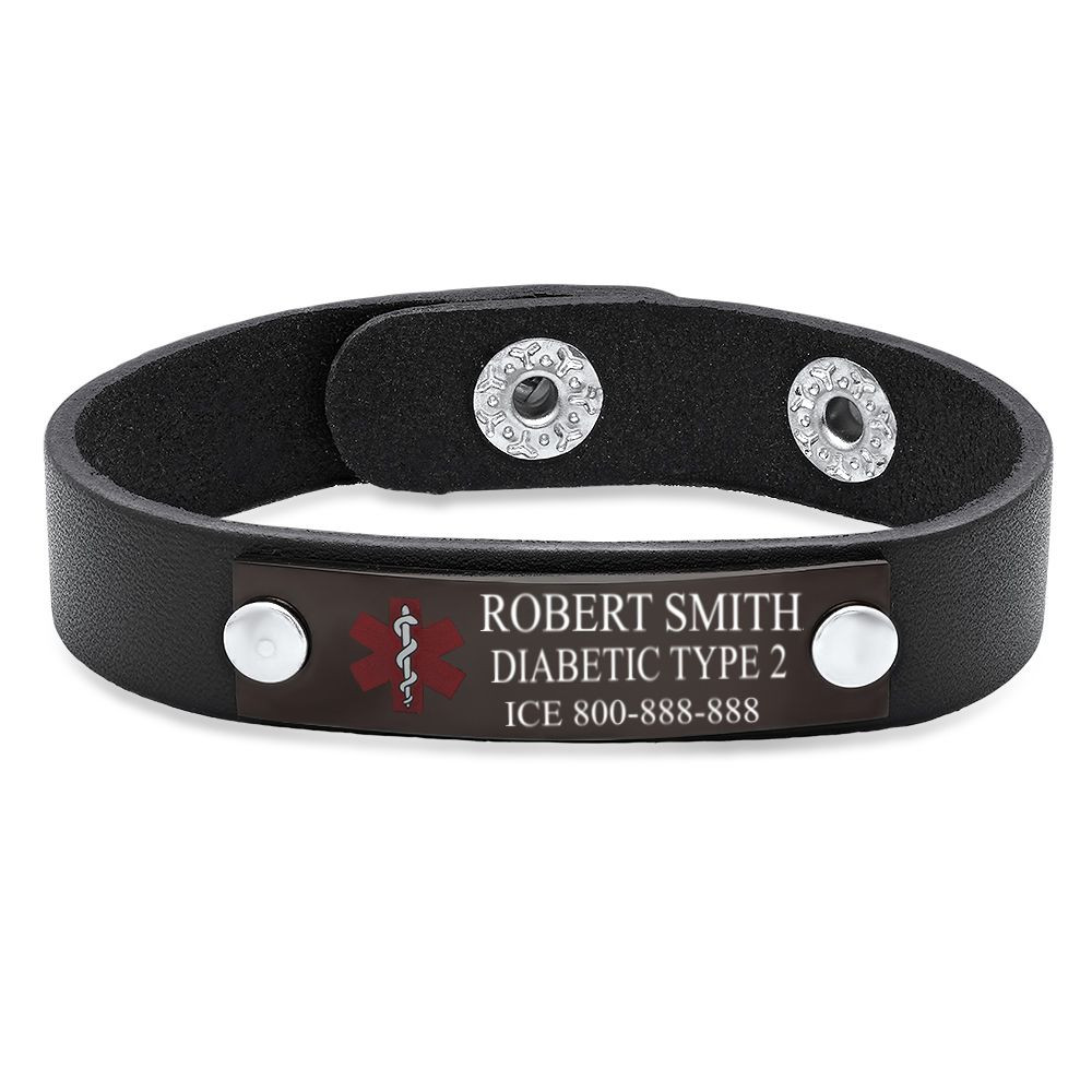 Medical ID Bracelet with Stainless Steel Plate and Genuine Leather
