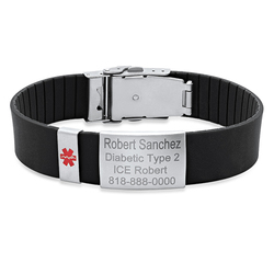 Personalized Quality Medical ID Bracelet with Rubber