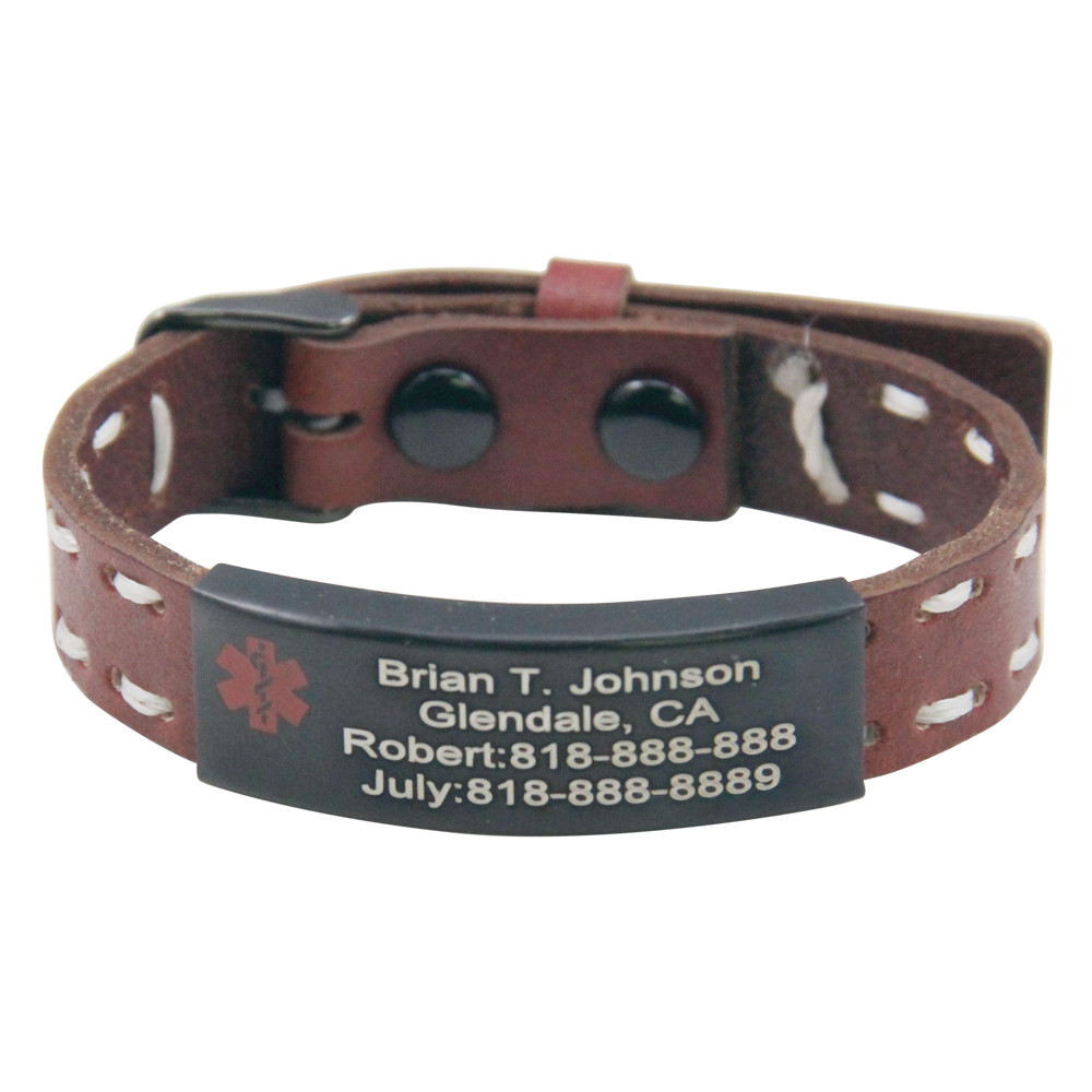 Quality Medical ID Bracelet With Genuine Leather
