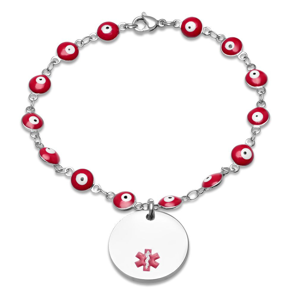 Personalized Stainless Steel Evil Eye Medical ID Bracelet