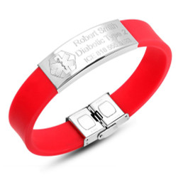 Personalized Stainless Steel with Red Rubber Medical Bracelet
