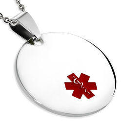 Quality Stainless Steel Round Medical ID Pendant- Free Engraving