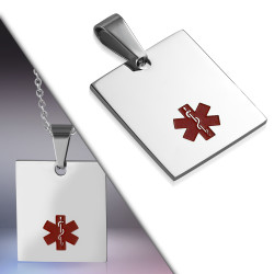"Personalized Stainless Steel Quality Medical Alert ID Tag Charm Pendant with 20"" Chain"