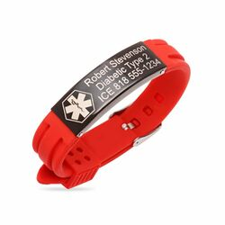 Personalized Black Stainless Steel with Red Rubber Medical Bracelet