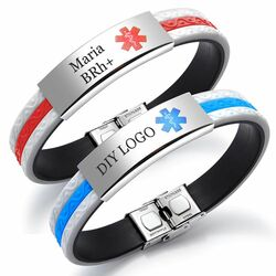 Personalized Stainless Steel with Rubber Medical Bracelet - Free Engraving