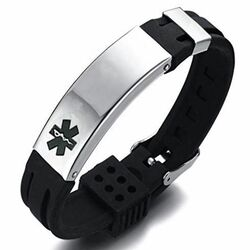 Personalized Black Stainless Steel with Black Rubber Medical Bracelet - Free Engraving