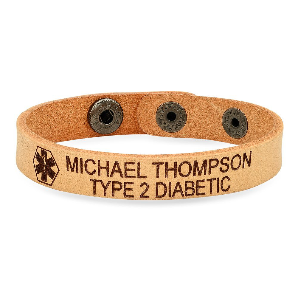 Personalized Quality Genuine Light Brown Leather Medical ID Bracelet- Free  Engraving