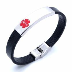 Personalized Stainless Steel with Black Leather Medical Bracelet