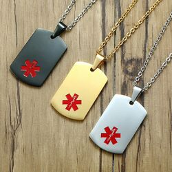Quality Stainless Steel Medical ID Dog Tag Pendant Chain
