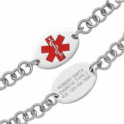 Quality Stainless Steel Oval Medical ID Bracelet