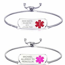 Personalized Stainless Steel Quality Medical ID Bracelet Adjustable