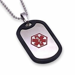Stainless Steel with Rubber Medical ID Dog tag with bead chain