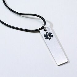Personalized Quality Medical Alert ID Bar Pendant Necklace