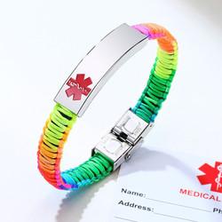 Personalized Rainbow Color Medical Alert ID Bracelet