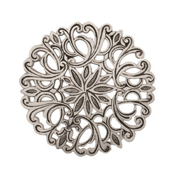 Single Silver Flowers Aluminum Trivet By Yair Emanuel