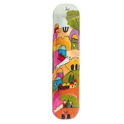 Multicolor Large Painted Wooden Mezuzah Case By Yair Emanuel