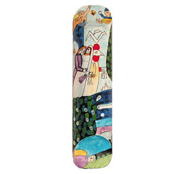 Bride & Groom Large Painted Wooden Mezuzah Case By Yair Emanuel