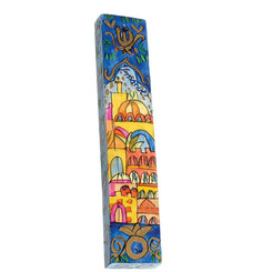 Jerusalem Large Painted Wooden Mezuzah Case By Yair Emanuel