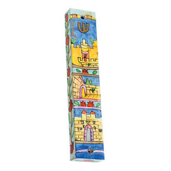 Large Painted Wooden Mezuzah Case By Yair Emanuel