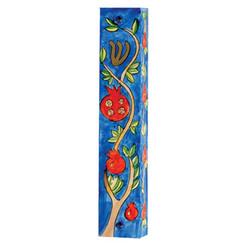 Pomegranates Large Painted Wooden Mezuzah Case By Yair Emanuel