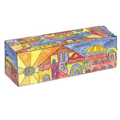 jerusalem Painted Wooden Traveling Hanukkah Menorah By Yair Emanuel