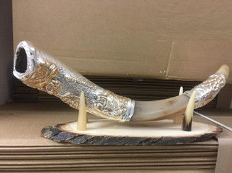 Yaliland Silver Plated Lion of judah shofar Kudu Horn Chofar From The Holy land Israel+ FREE Wood Stand