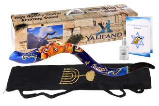"SHOFAR Polish Polished Hand painted Set 30-32"" Kudu Horn Yemenite Lion of judah + Bag + Spray + Guide + Carrying Box Case"