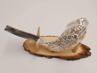 Silver Shofar Set Plated Jerusalem Old City Rams Ram Horn From The Holy Land Israel + FREE Wood stand