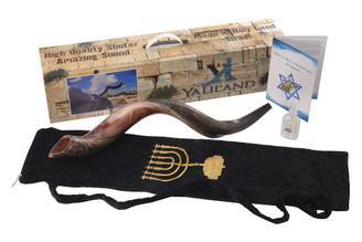 "SHOFAR Set Half Polished Half Natural Kudu Horn Yemenite Bag + Spray + Guide + Carrying Box Case (28""-30"")"