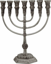 Menorah puter Jerusalem Temple 14 Inch Height 36 Cm 7 Branches Brass XL