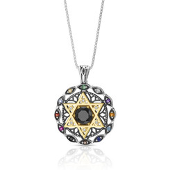 kabbalah necklace 925 Sterling Silver & 9K Gold Circular Star of David & Evil Eye Pendant