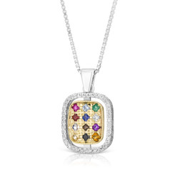 """kabbalah necklace 925 Sterling Silver & 9K Gold Hoshen """"Twelve Tribes"""" Pendant with Colorful Zircon Stones & Diamond"""