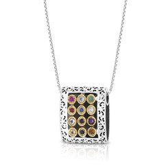 """kabbalah necklace 925 Sterling Silver & 9K Gold Hoshen """"Twelve Tribes"""" Pendant with Priestly Blessing and Filigree Pattern"""