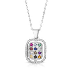 kabbalah The Priestly Breastplate for Genesis  A rectangular pendant 925 Sterling Silver, With white zircon stones around , Choshen