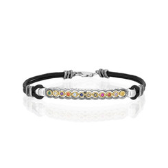 The Priestly Breastplate for Genesis, Silver and gold with Black Leather Bracelet ,a gift for her, Hoshen, birthstone Bracelet