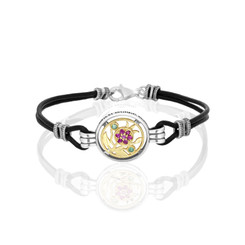Pomegranate Bracelet , Silver and gold with Black Leather Bracelet ,Rubies and Emeralds Stones a gift for her, birthstone Bracelet