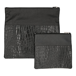 Exclusive Cow Leather Tallit + Tefillin Bag 100% Natural Skin Black