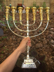 Menorah Jerusalem Temple Gold silver 16.5 Inch Height 42 Cm 7 Branches Brass XL