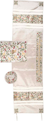Tallit For women Traditional Jewish Prayer Shawl Embroidered WitH Pomegranates ,100% Kosher from Israel include bag & kippah.